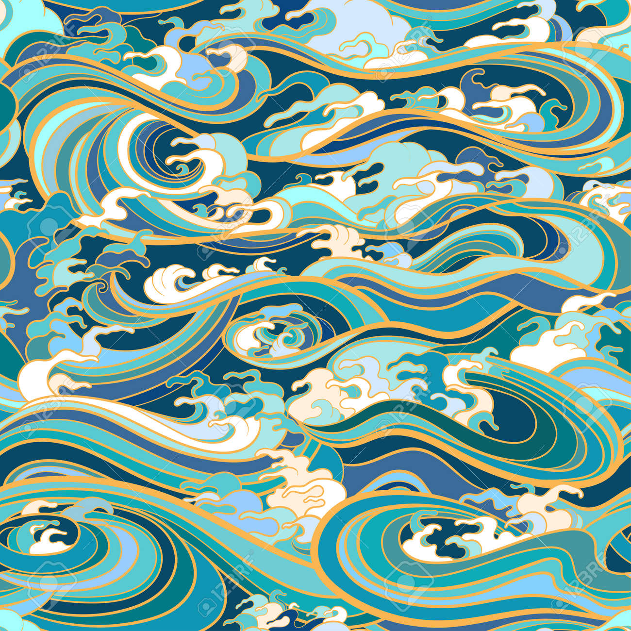 Marine seamless pattern with water waves in oriental style - 170091972