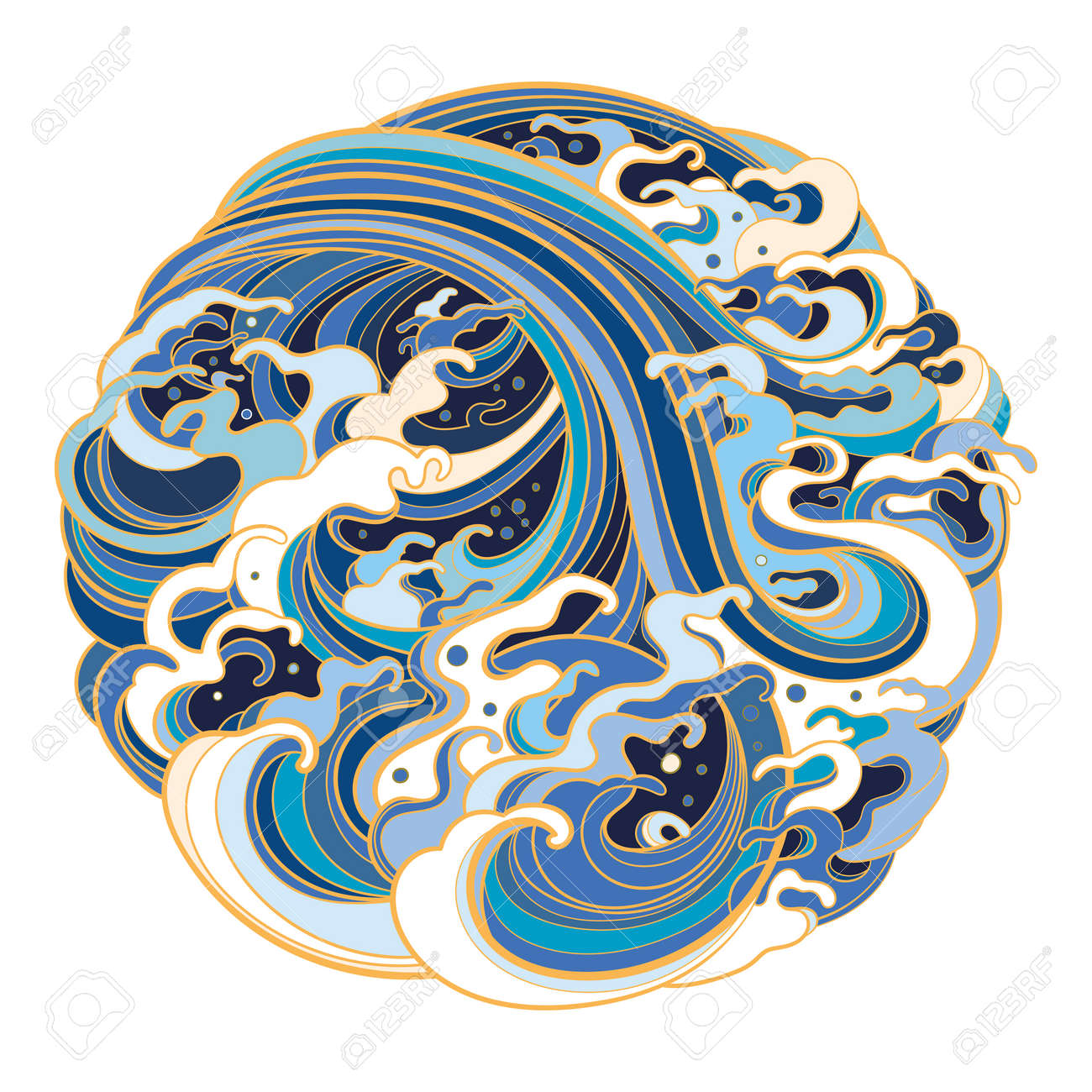 Traditional oriental sea waves in the form of a circle. - 170091974