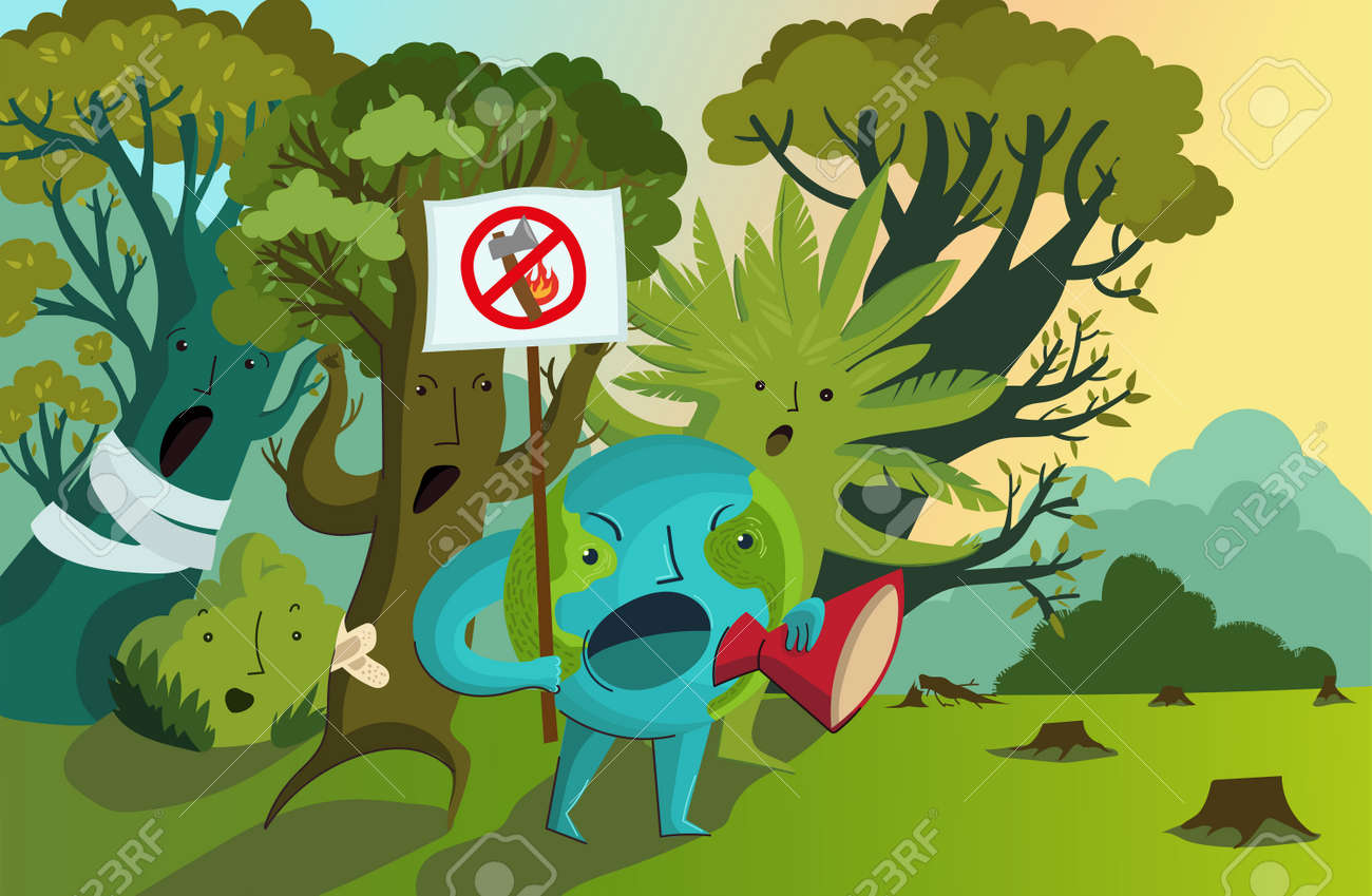 Vector illustration of planet Earth with a protest poster surrounded by indignant trees. Protest against deforestation, massive fires, destruction of the environment. Rally for the conservation of forests. Ecological poster. - 171713311