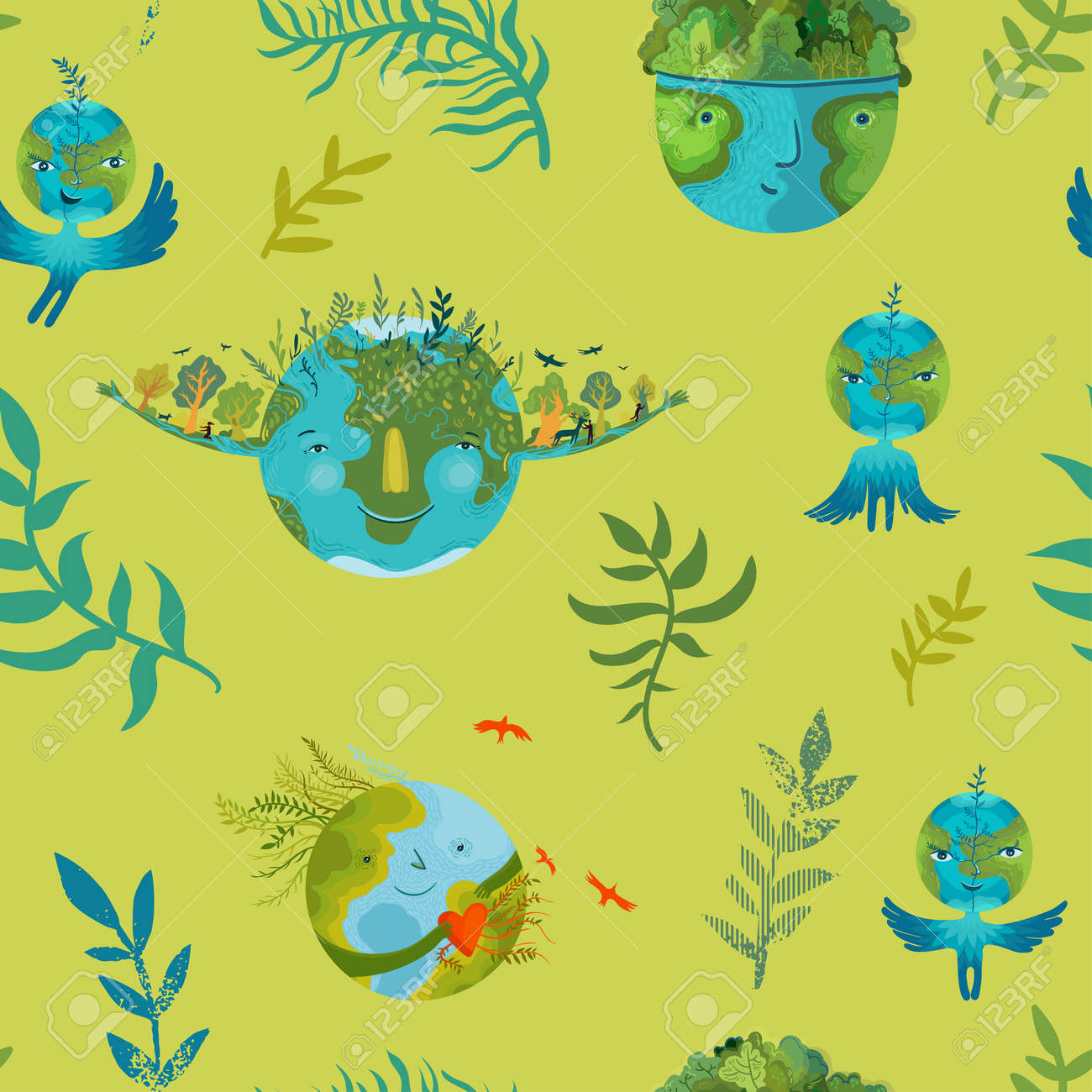 Vector ecological seamless pattern with cute, happy and prosperous Earth in harmony. Save and protect planet Earth. - 171949143