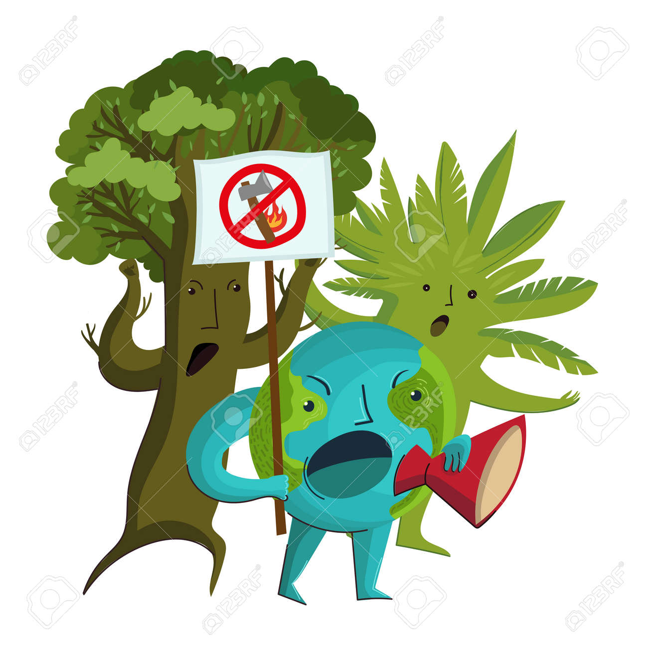 Vector cartoon characters of the planet Earth and trees who protest against the deforestation and destruction of forests. - 171669142