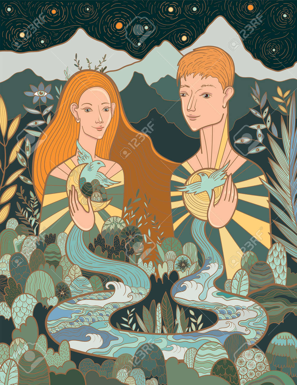 Conceptual vector illustration of a woman and a man in love and harmony with nature and themselves. The interconnection of everything with everything in the world. - 171949144