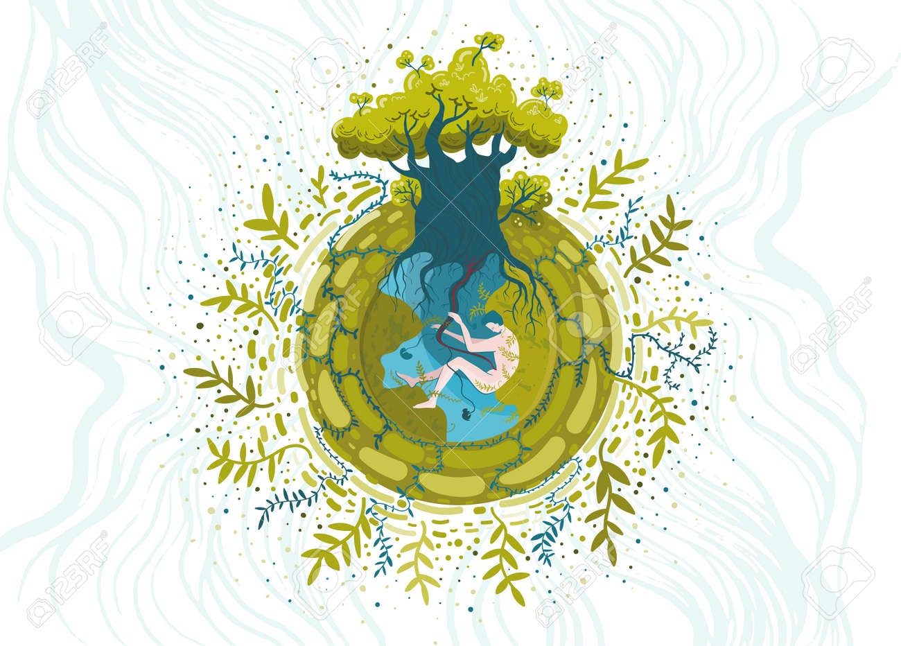 Conceptual vector illustration on ecological and nature protection theme. You are part of nature, take care of it. - 171670830