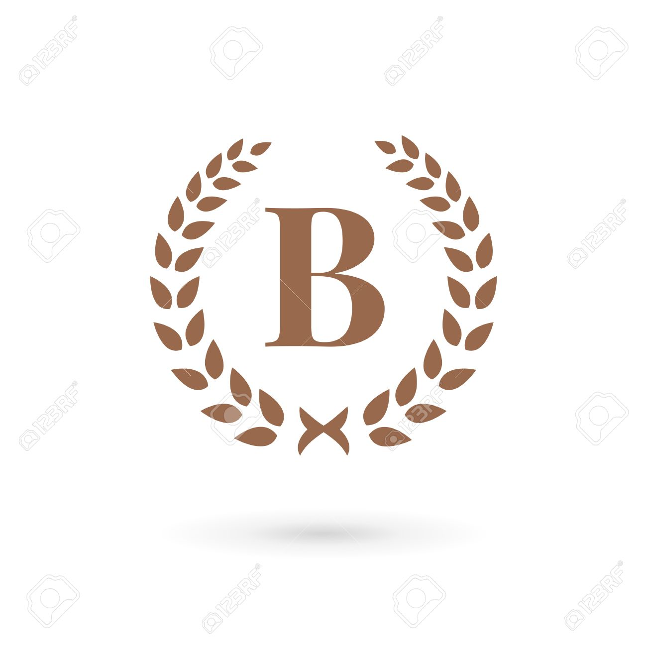 letter b laurel wreath logo icon design template elements stock vector 32592477