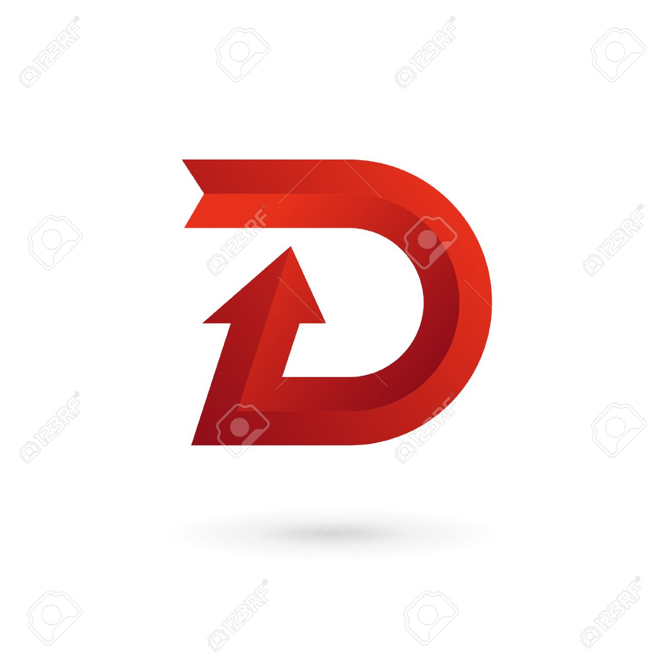 Letter D Arrow Ribbon Logo Icon Design Template Elements Vector