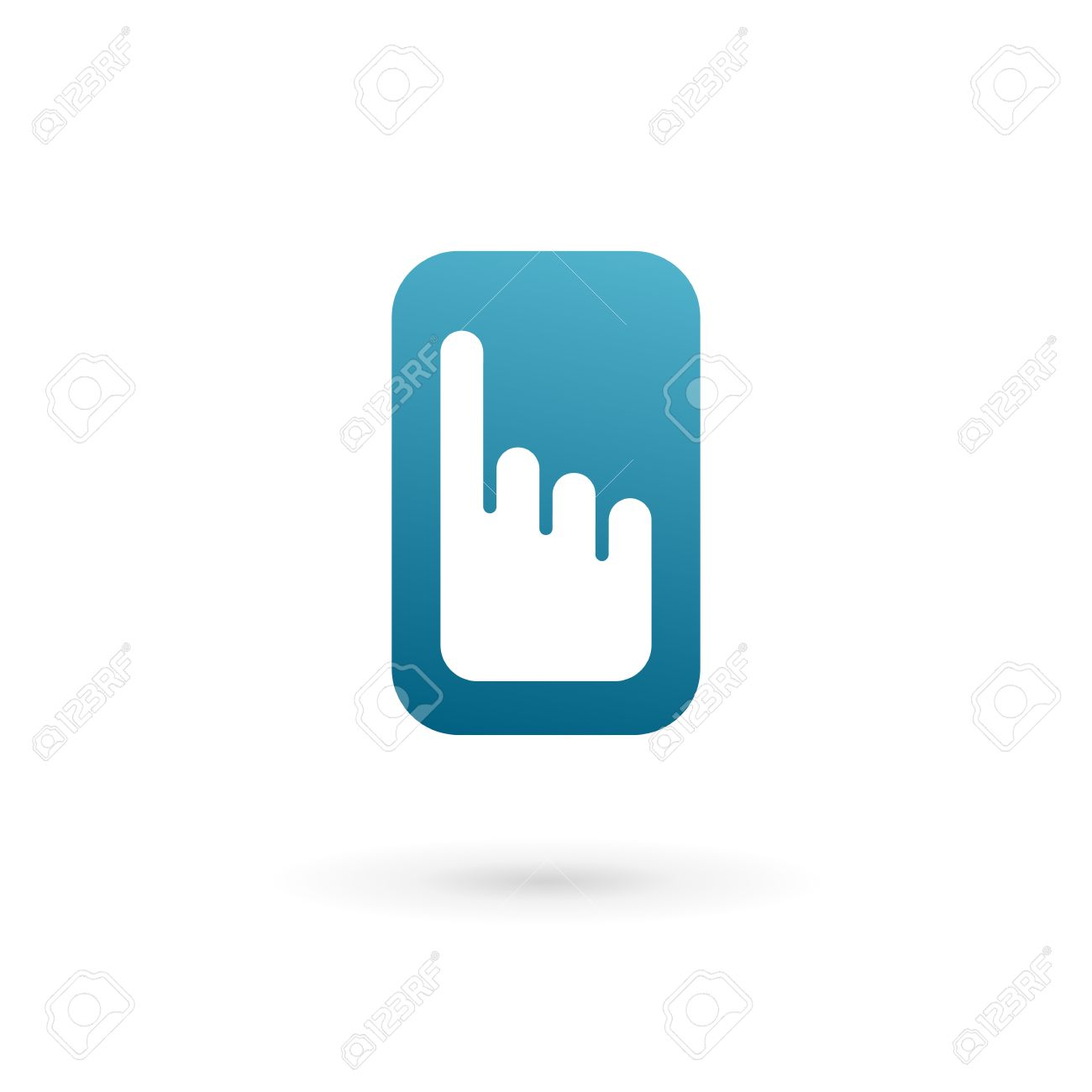 Mobile phone hand touch screen app logo icon design template