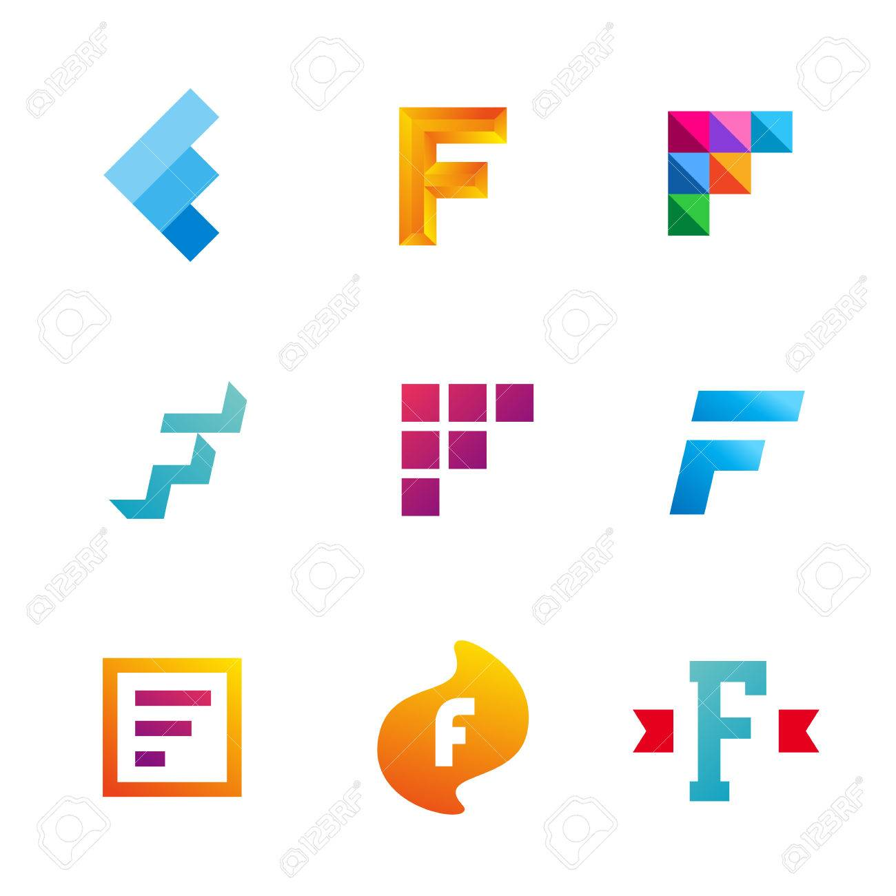 Set Of Letter F Logo Icons Design Template Elements Collection