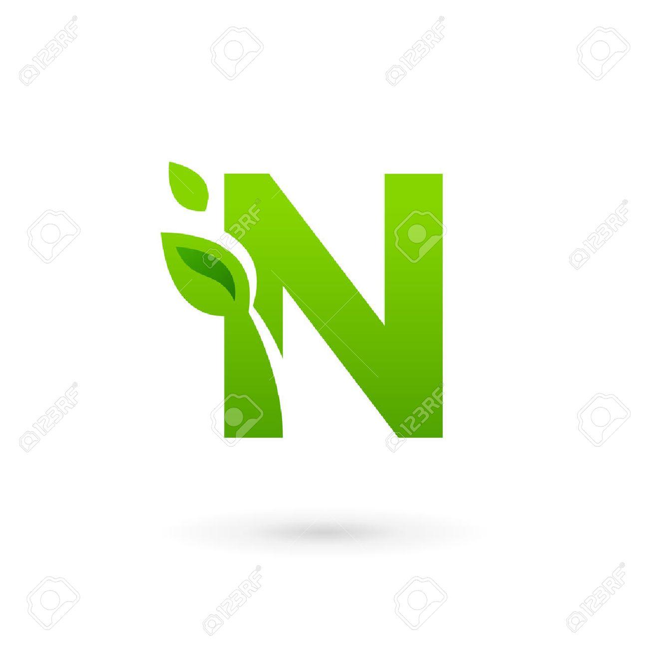 Letter n Logo Design Letter n Eco Leaves Logo Icon