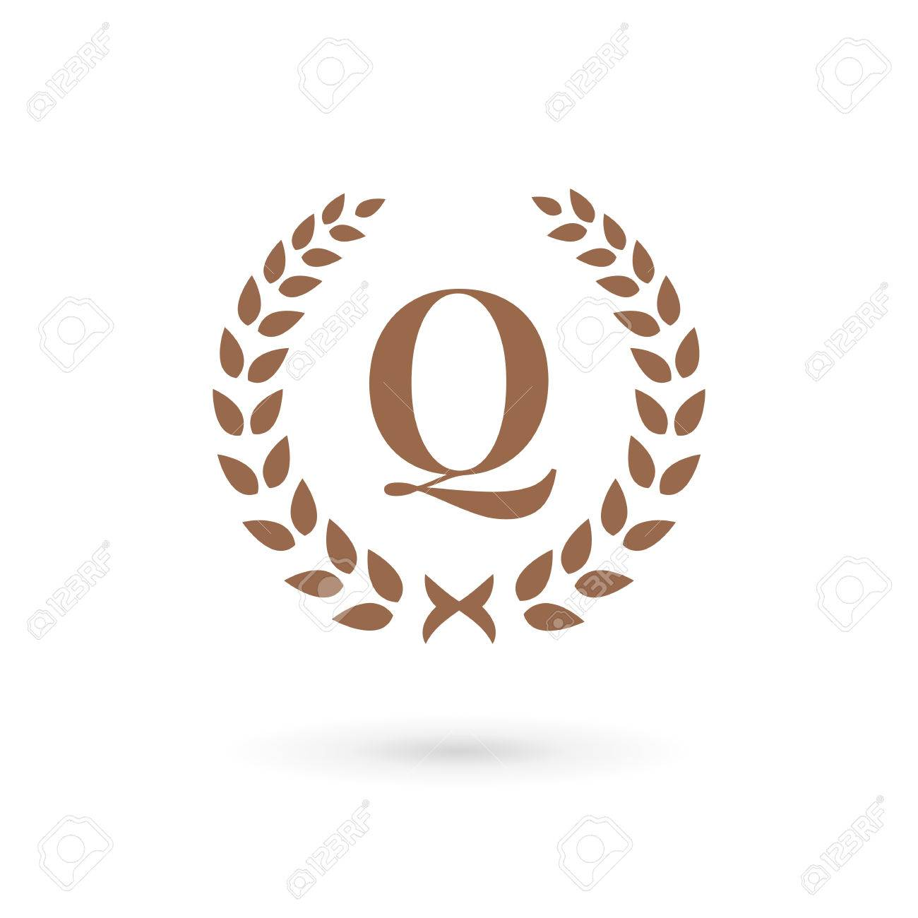 letter q laurel wreath logo icon design template elements royalty
