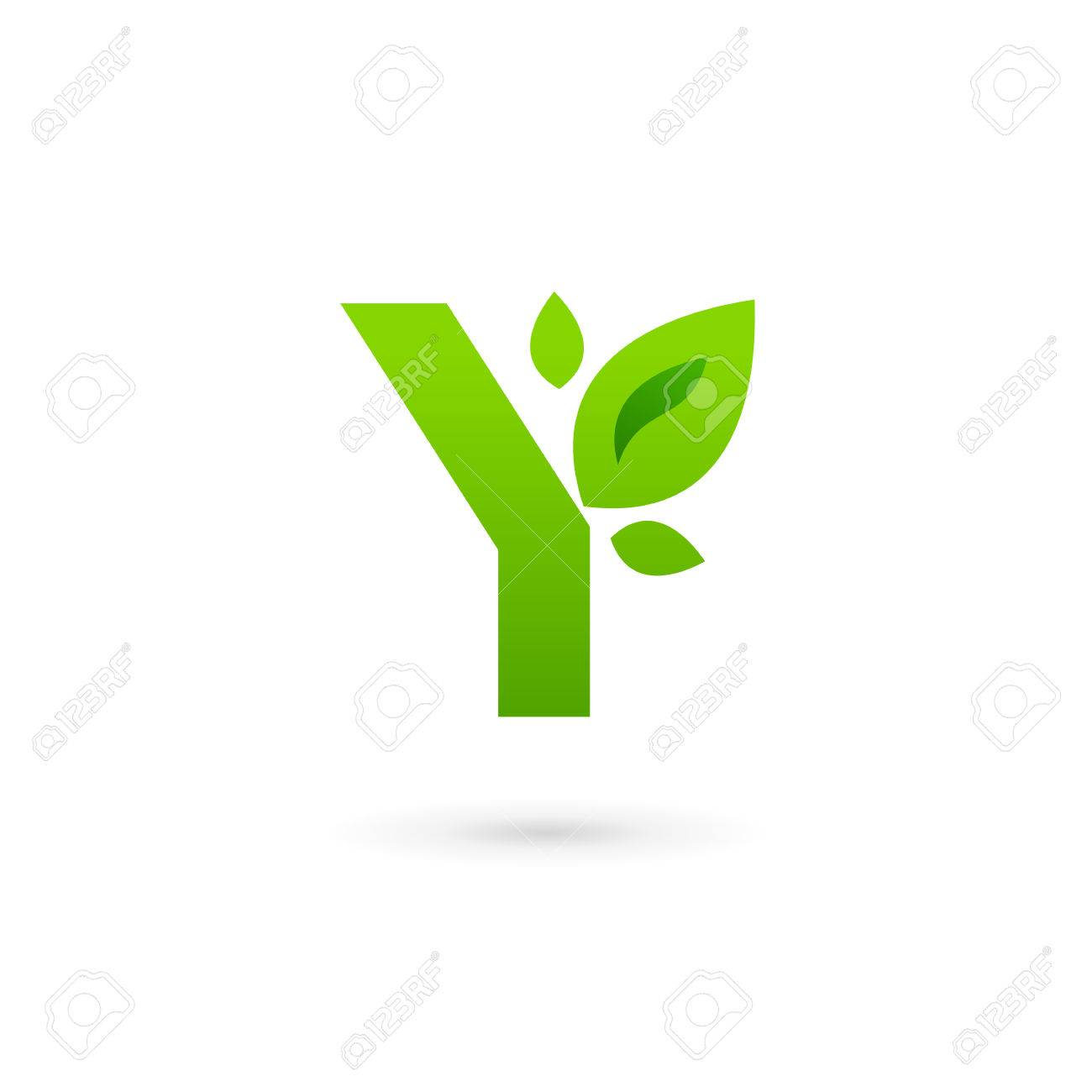 letter y eco leaves logo icon design template stock vector 34569629