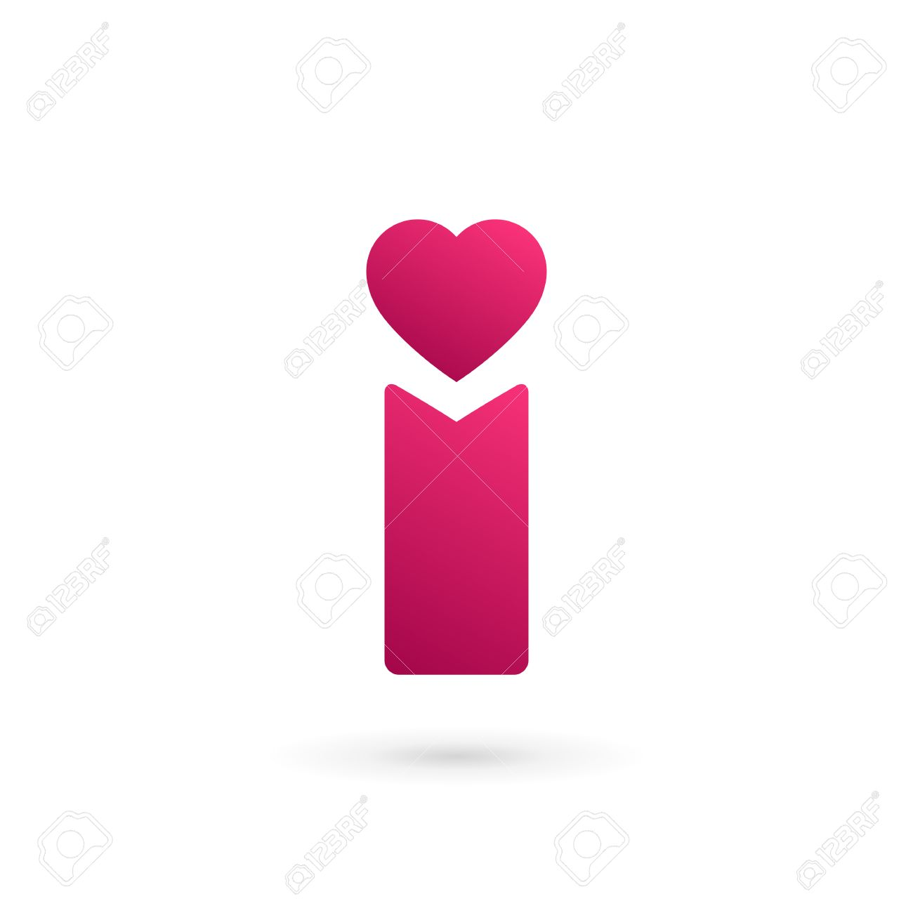 Letter I heart logo icon design template elements