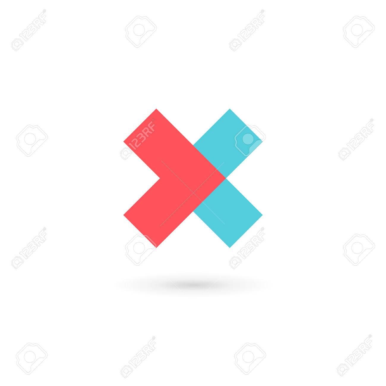 Carta X Logo Cruz Elementos De Plantilla Icono Del Diseño ...