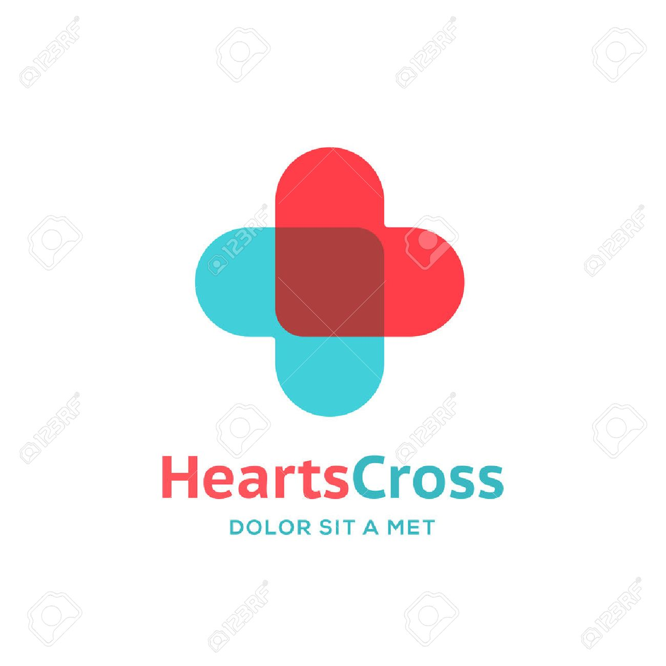Cross plus heart medical logo icon design template elements Stock Vector - 47219699