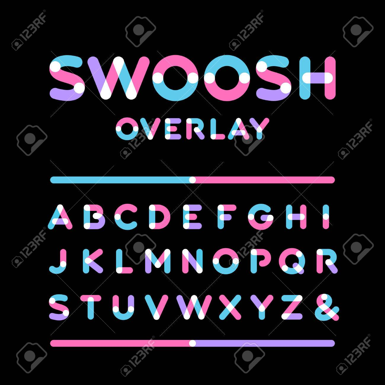 Rounded font. Vector alphabet with overlay effect letters. - 48422152