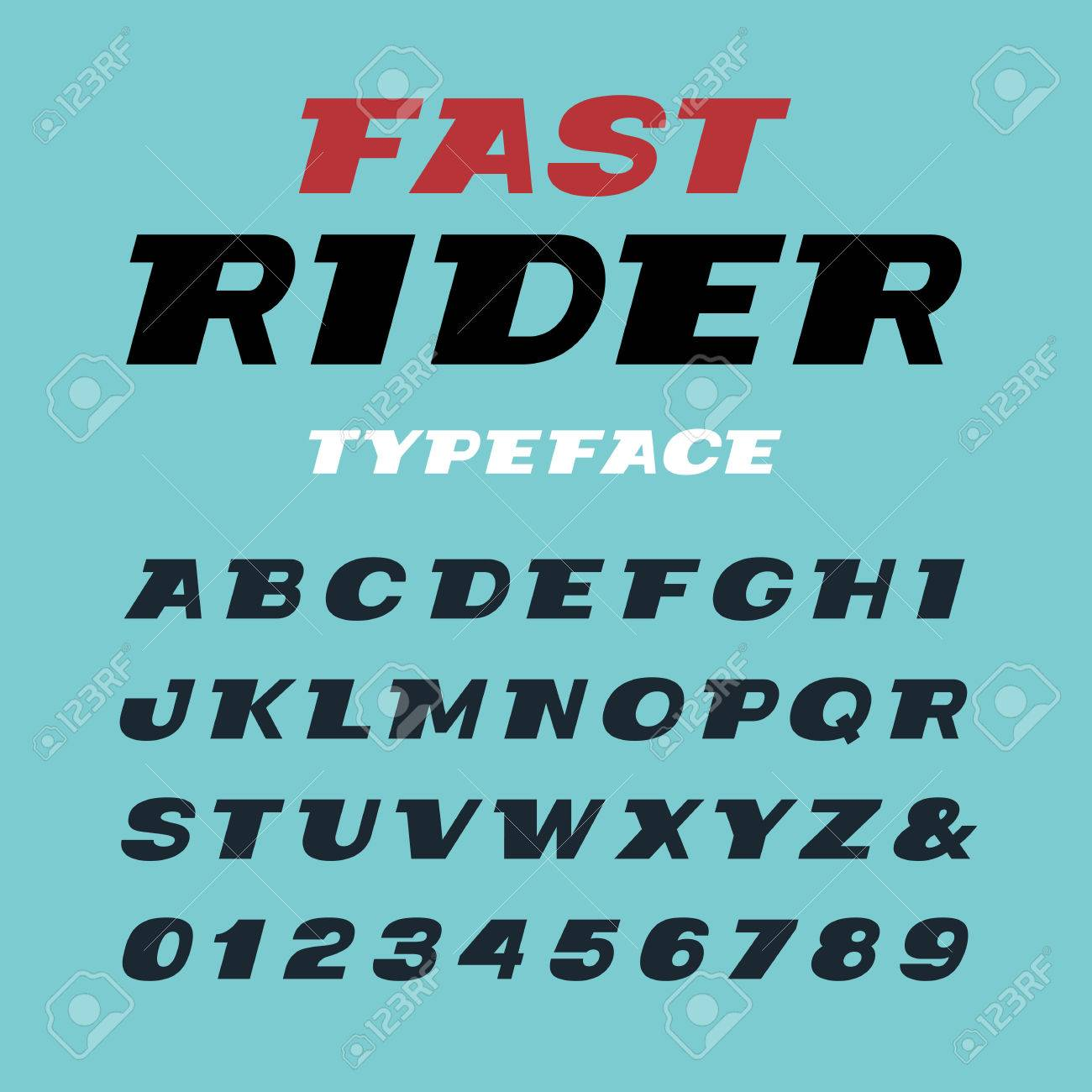Wide italic font  Vector alphabet with latin letters and numbers