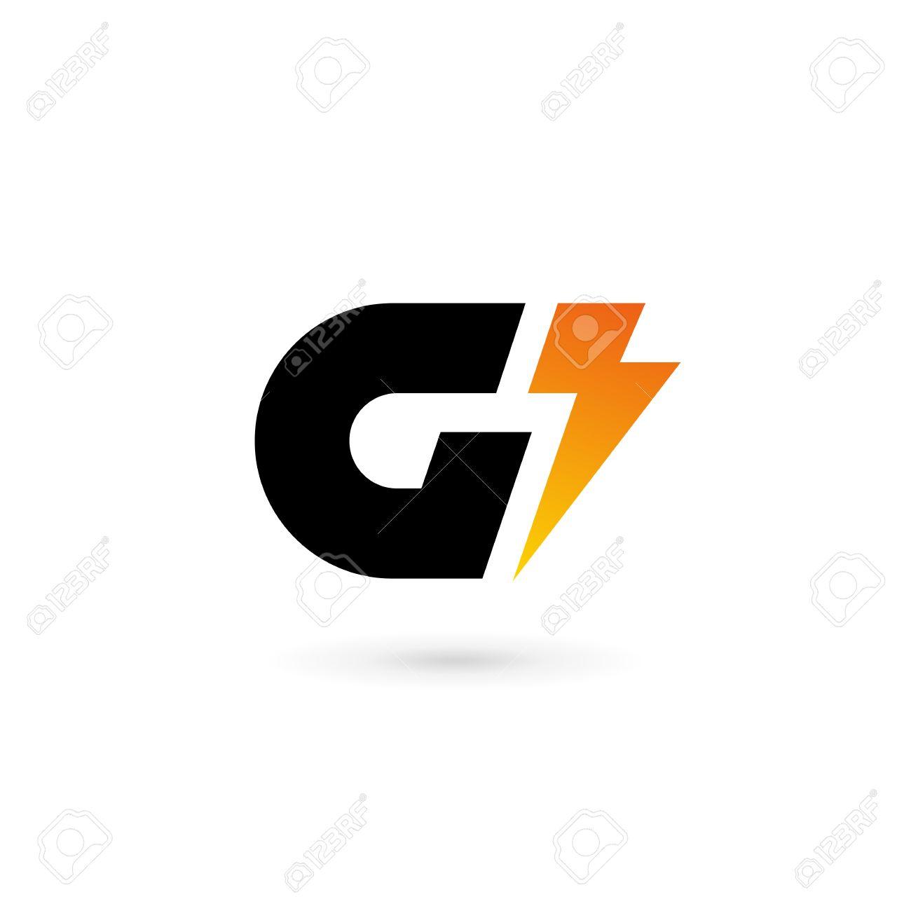 Letter G Lightning Logo Icon Design Template Elements Stock Vector