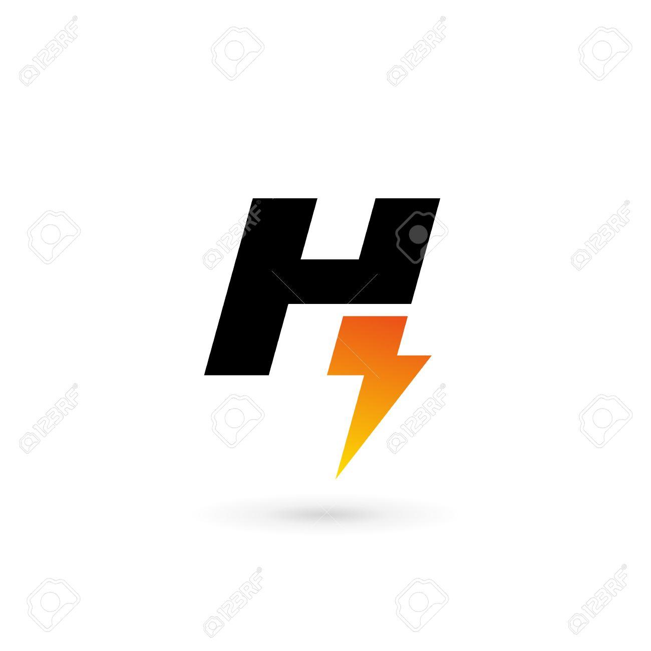 Logo Rayo Elementos De Plantilla Icono Del Diseño De La Letra H ...