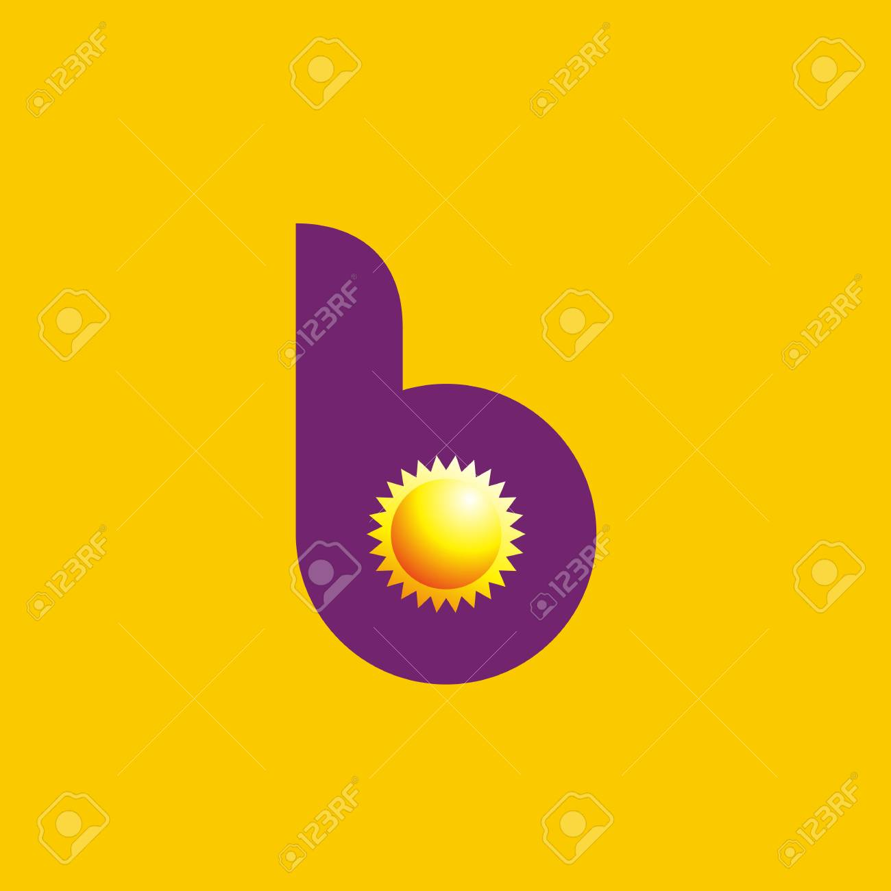 letter b sun logo icon design template elements on yellow background