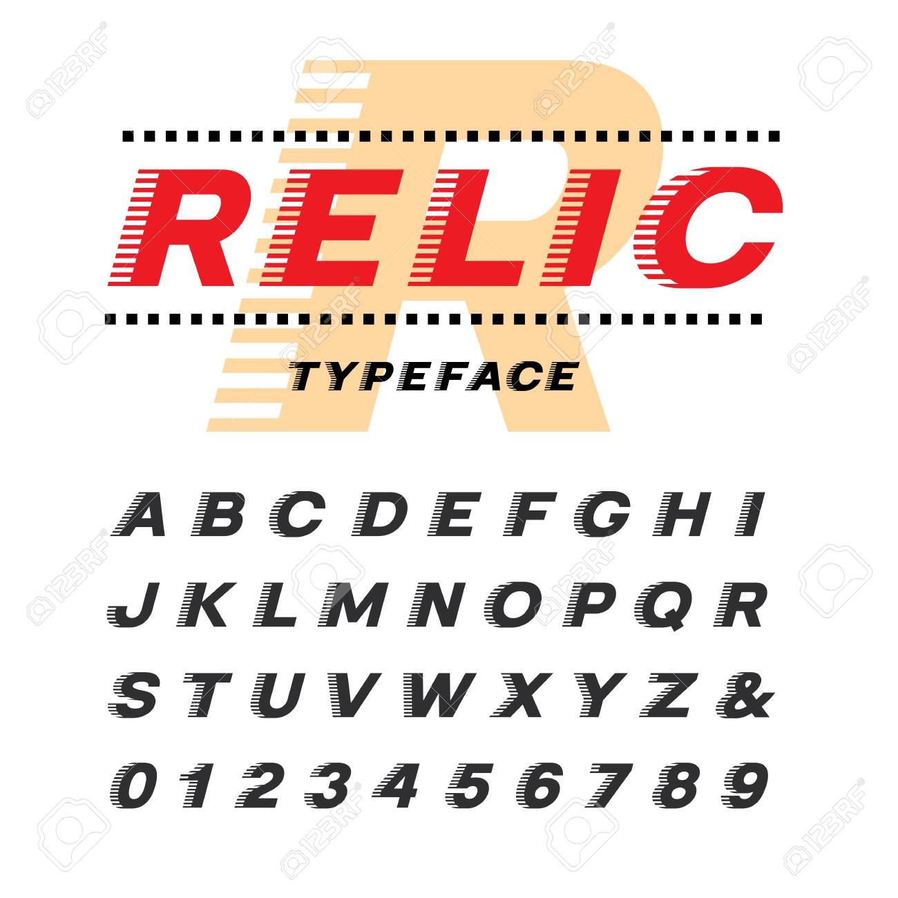 Italic font  Vector alphabet with latin letters and numbers