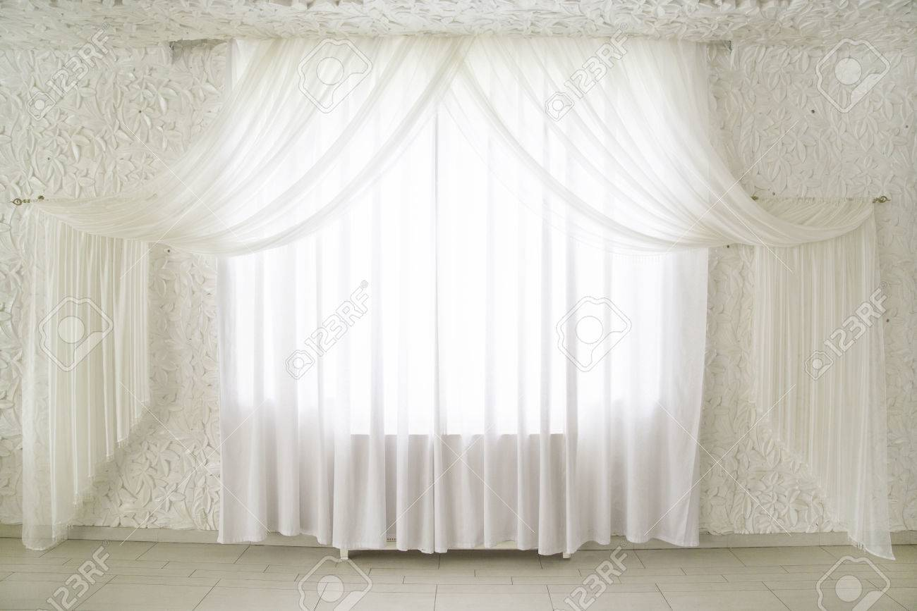Attractive White Draped Curtains On The Window In The Interior Interior Design Stock  Photo   30120922