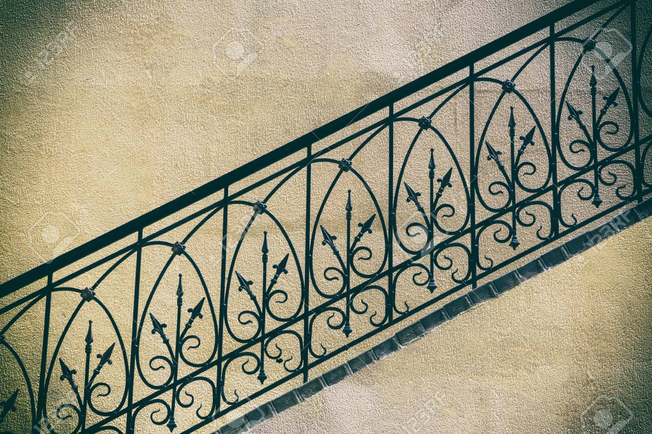 Old Stairs Of Concrete Outdoors Fragment Of Black Steel Railing Stock Photo Picture And Royalty Free Image Image 65823227