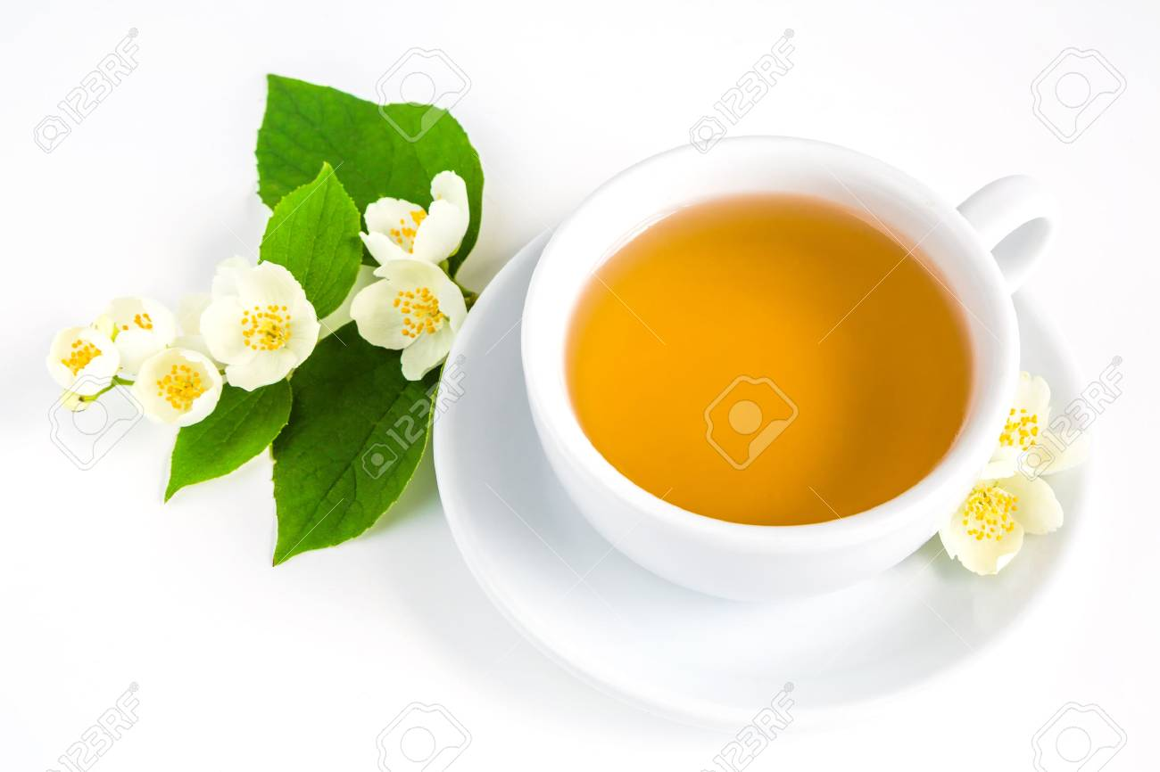 A Cup Of Jasmine Tea And Jasmine Flowers On A White Background