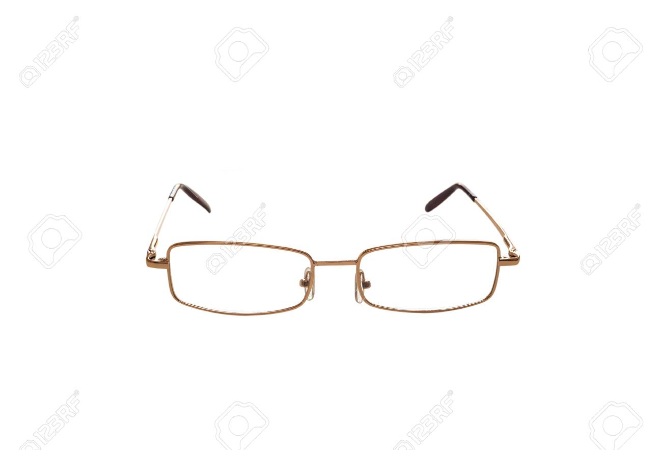 Classic Glasses In A Gold Metal Frame For Reading And Working ...