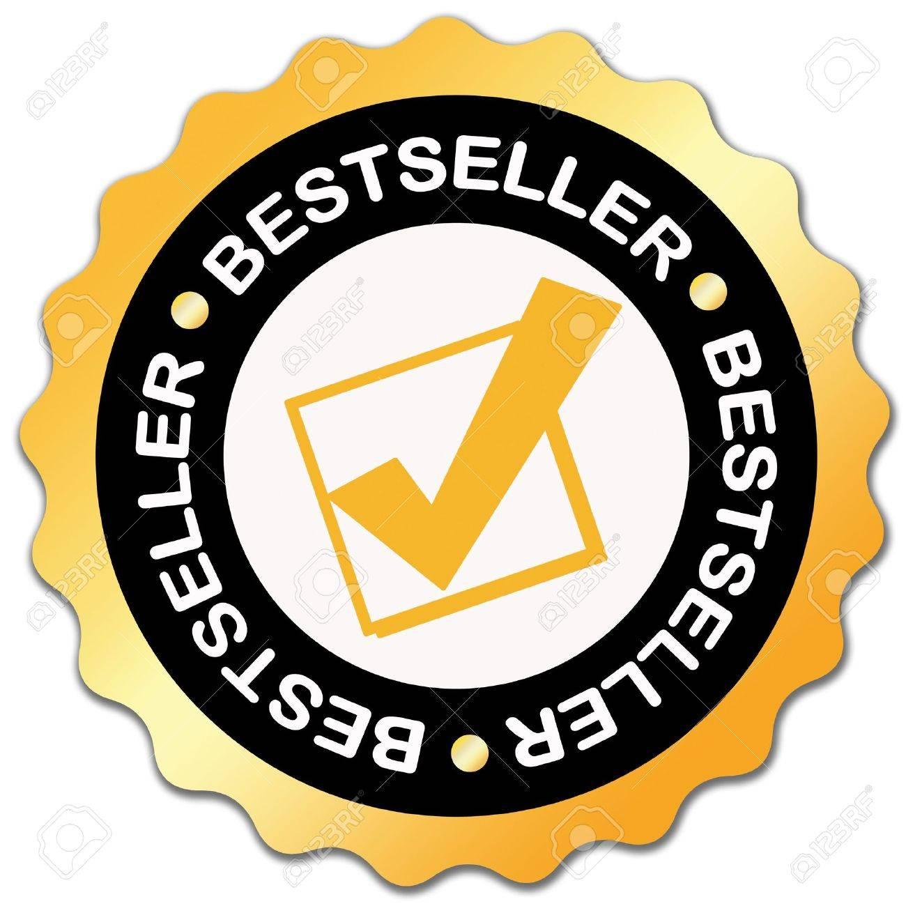 Bestseller golden sticker over white Stock Photo - 6166681