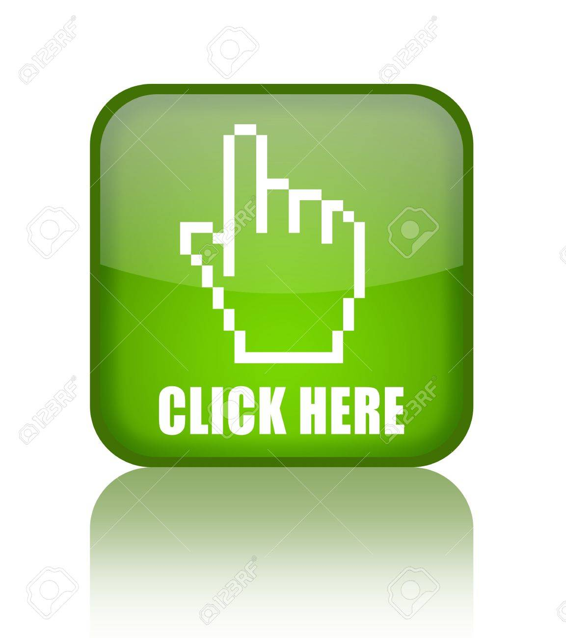 Click here green glass button Stock Photo - 8885319