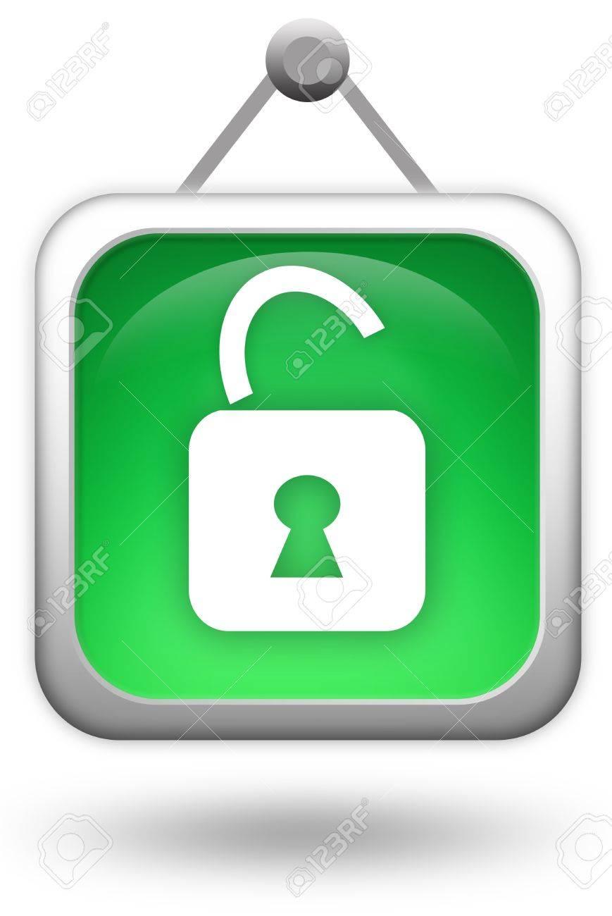 Open lock icon Stock Photo - 8885318