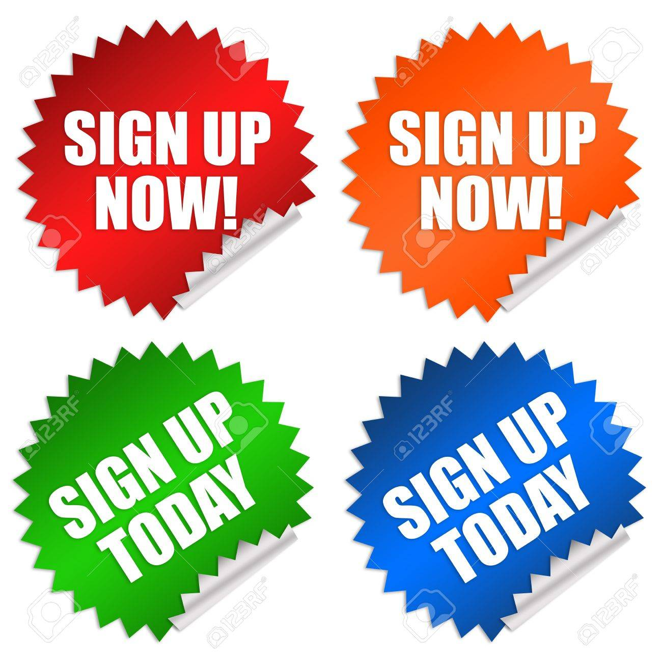 Sign up now sticker Stock Photo - 9156419