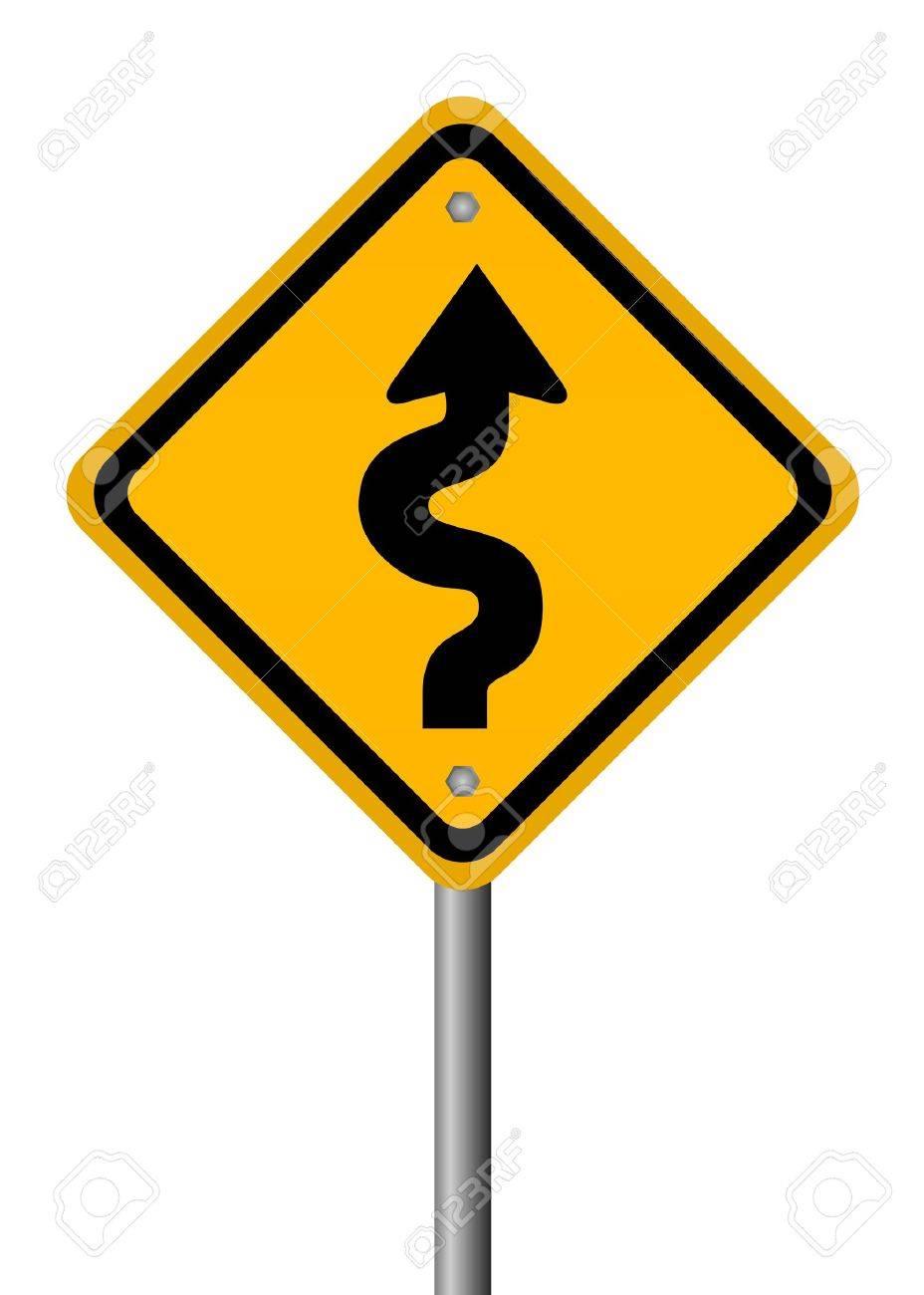 Curvy road sign Stock Photo - 9396072