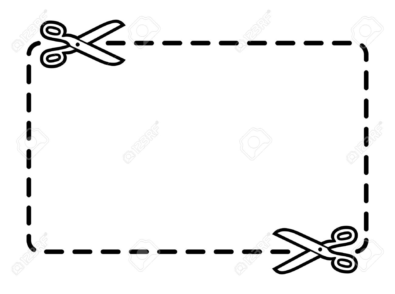 Coupon Border With Scissors Royalty Free Cliparts Vectors And
