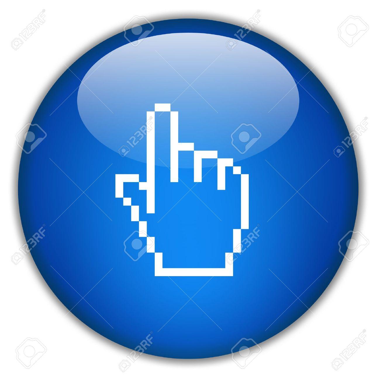 Hand icon, click here Stock Photo - 10428508