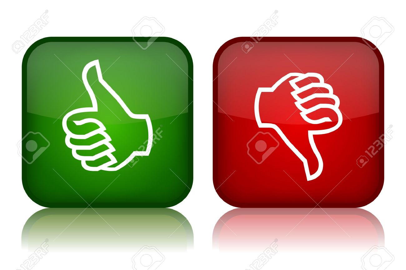 Thumbs up and down feedback buttons, vector illustration Stock Vector - 12414994