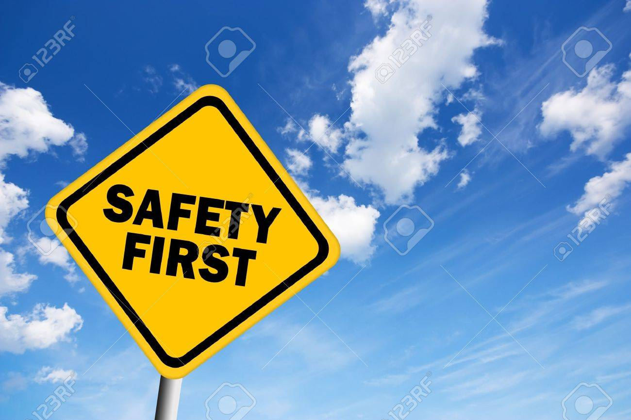Safety first illustrated sign over blue sky Stock Photo - 13986270