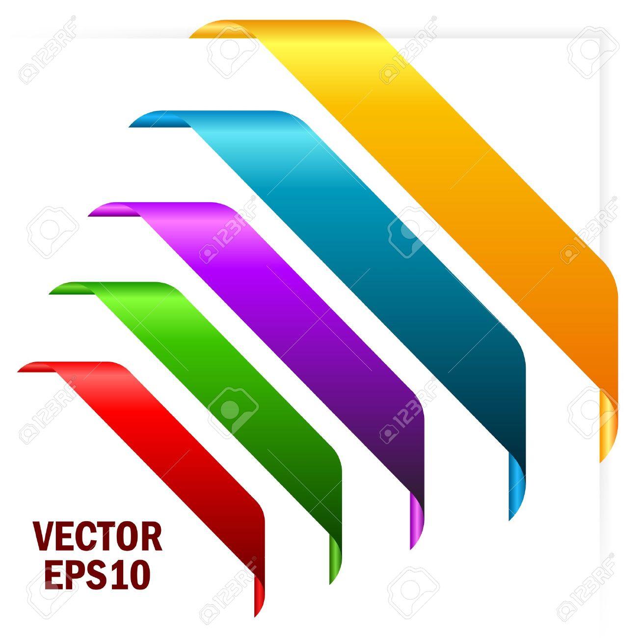 Coloured corner ribbons illustration Stock Vector - 14405406