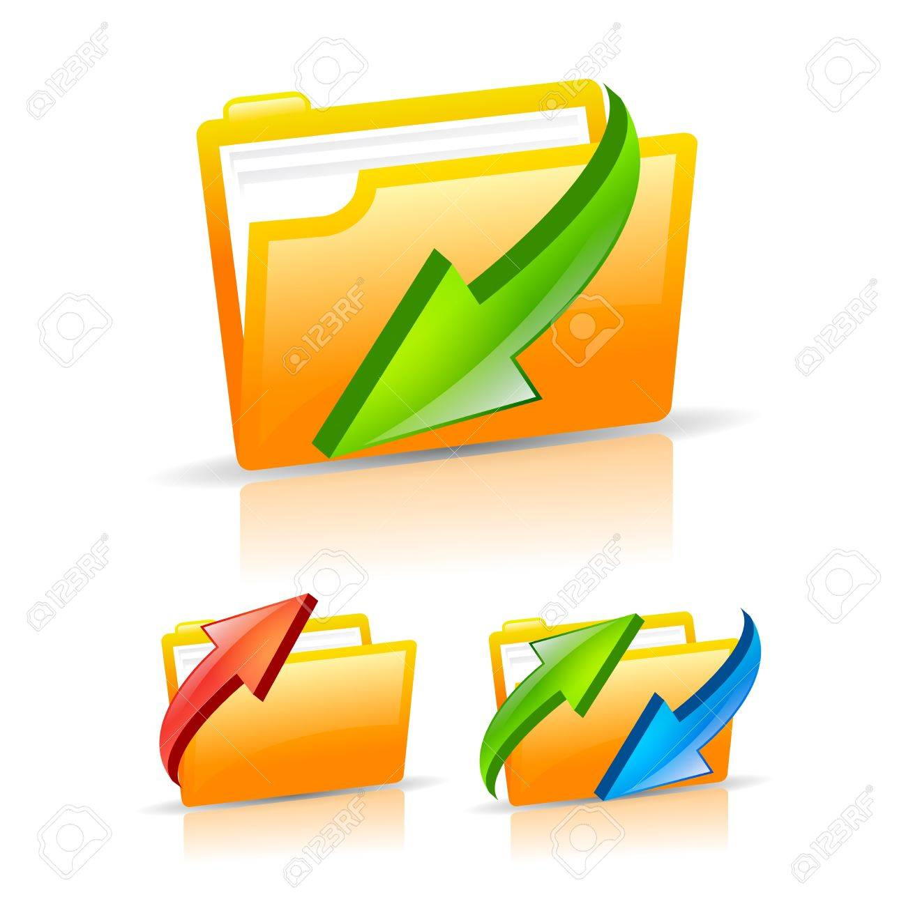 Folder icons set, illustration Stock Vector - 16449364