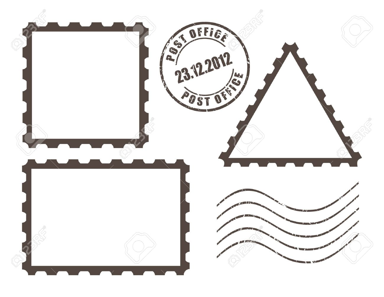 Postage Stamp Clip Art Black And White Blank post stamps  vector