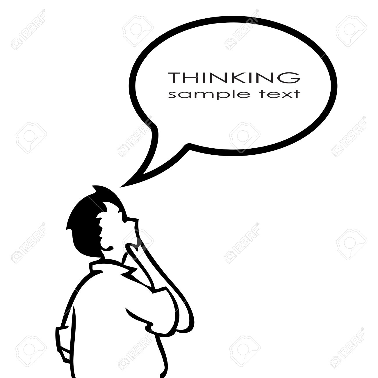 Person Thinking With Thought Bubble Clipart