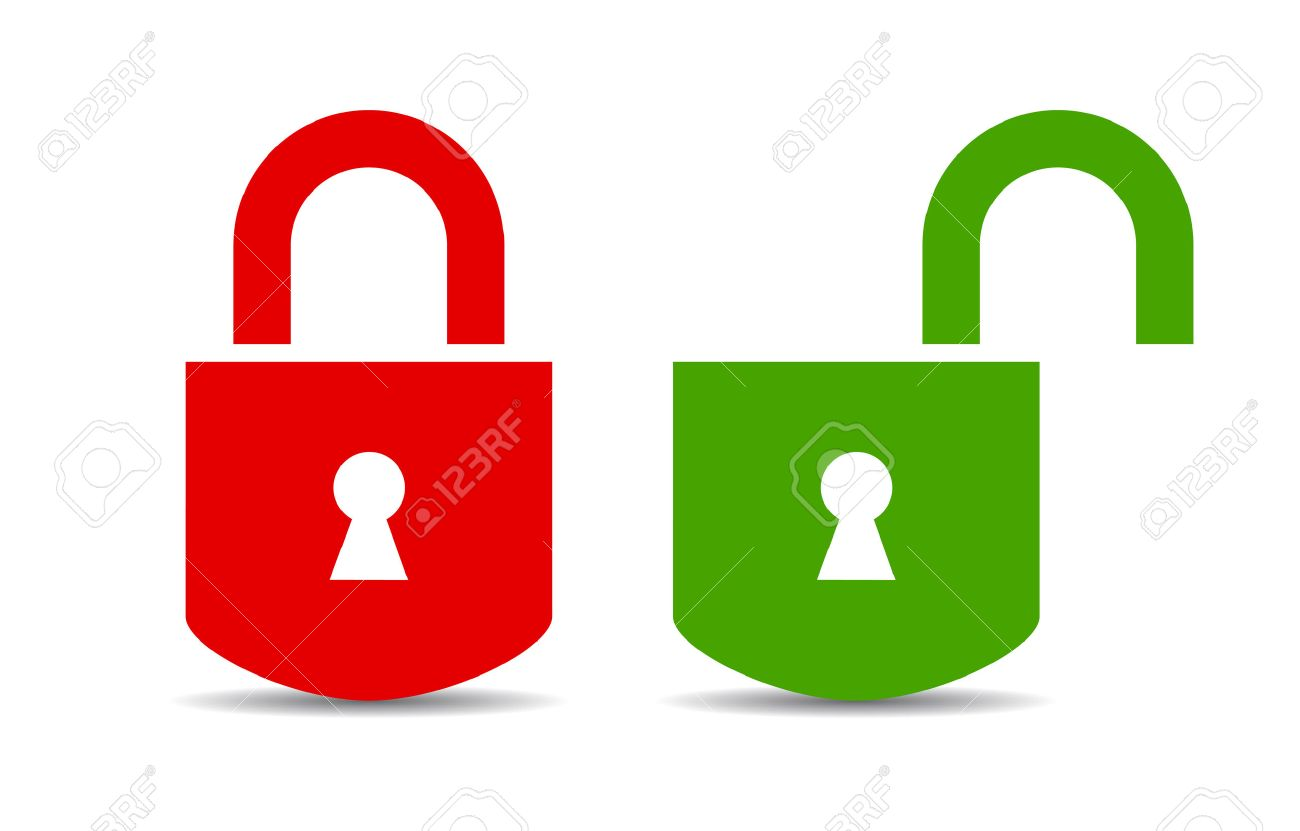 Open and closed padlock - 38100522