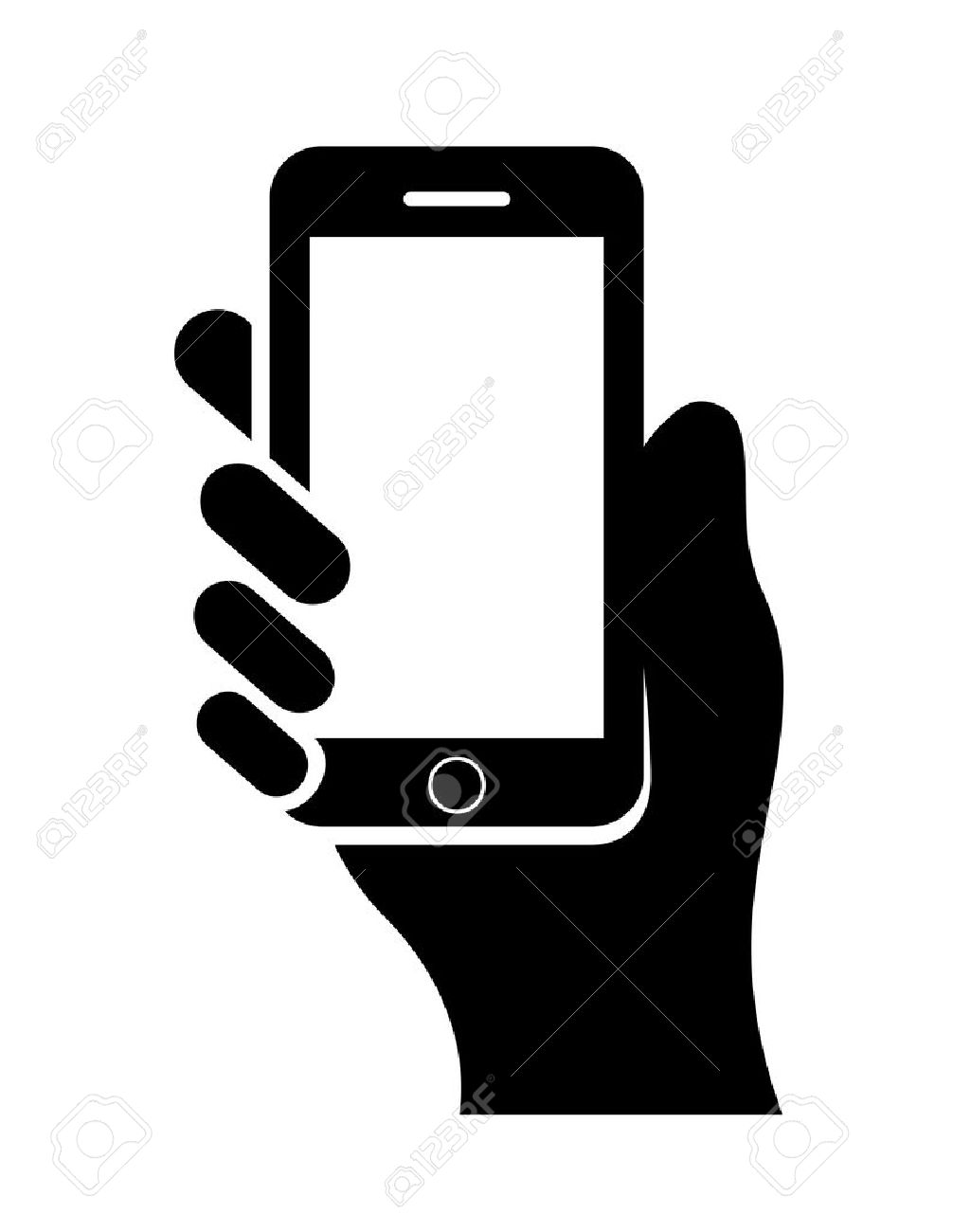 hand with cell phone royalty free cliparts vectors and stock rh 123rf com vector phone mockup vector phone number