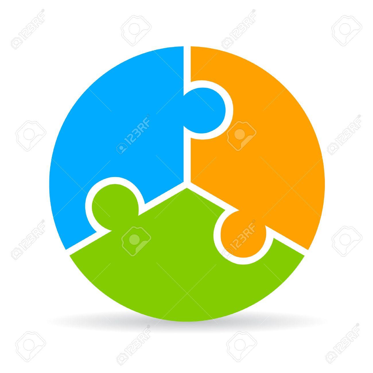 Three part puzzle process diagram - 50934732