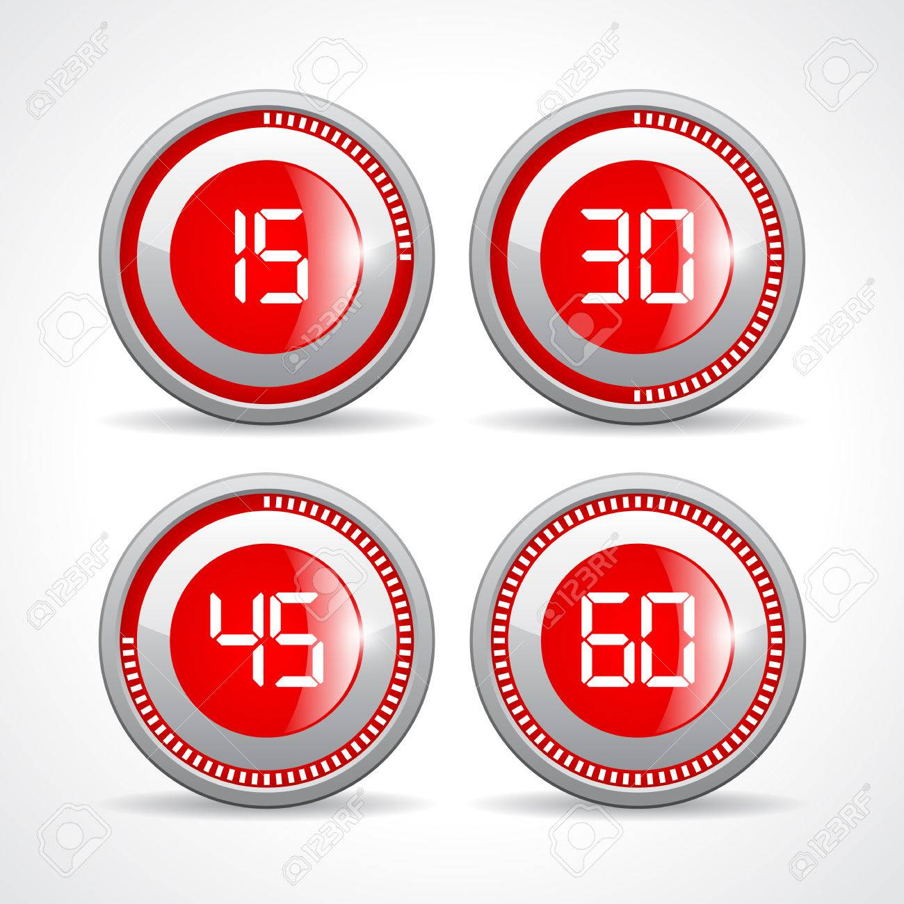 timers set 15 30 45 60 minutes royalty free cliparts vectors and