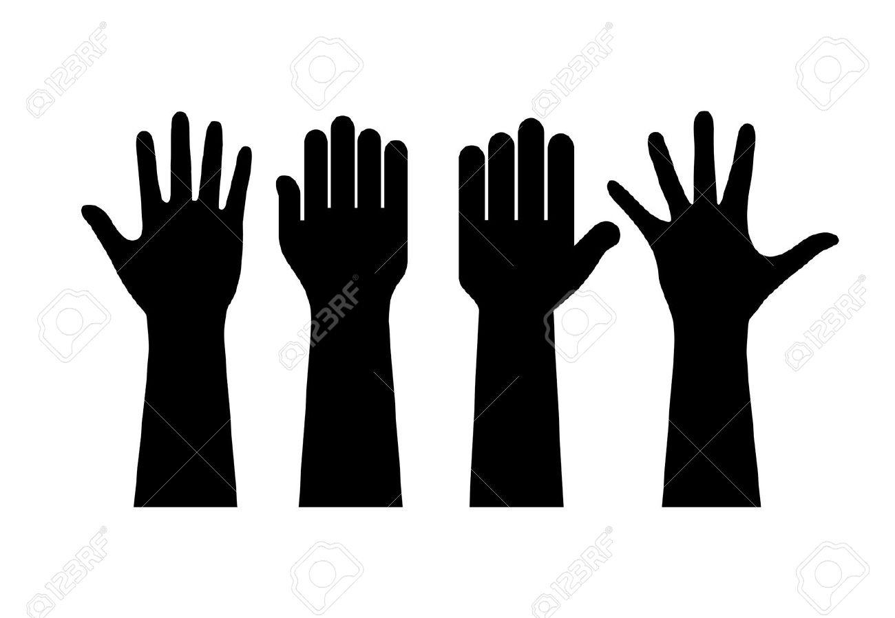 Raised human hands contours - 59213717
