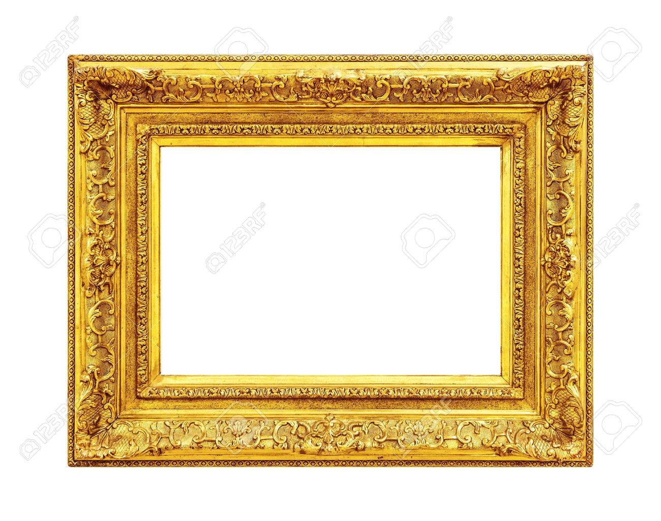 a17857bcef1 Antique ornate gold frame isolated on white background Stock Photo -  64137739