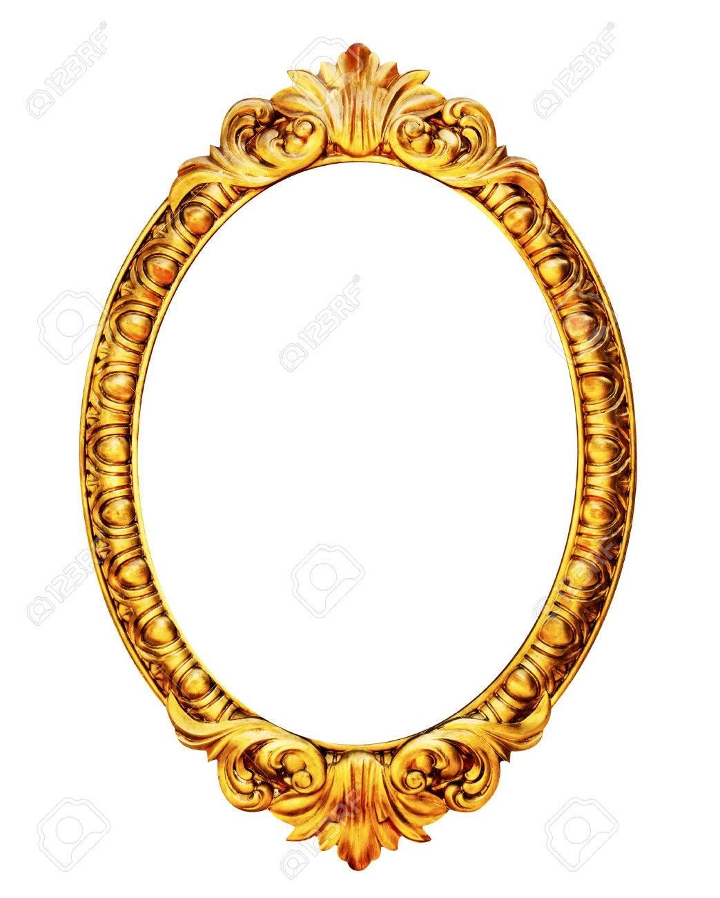 Goldrahmen Aus Holz Spiegel Isoliert Auf Weißem Hintergrund ...