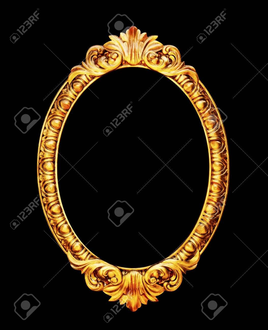 Oval Old Mirror Frame Photo Isolated On Black Background Stock Photo ...