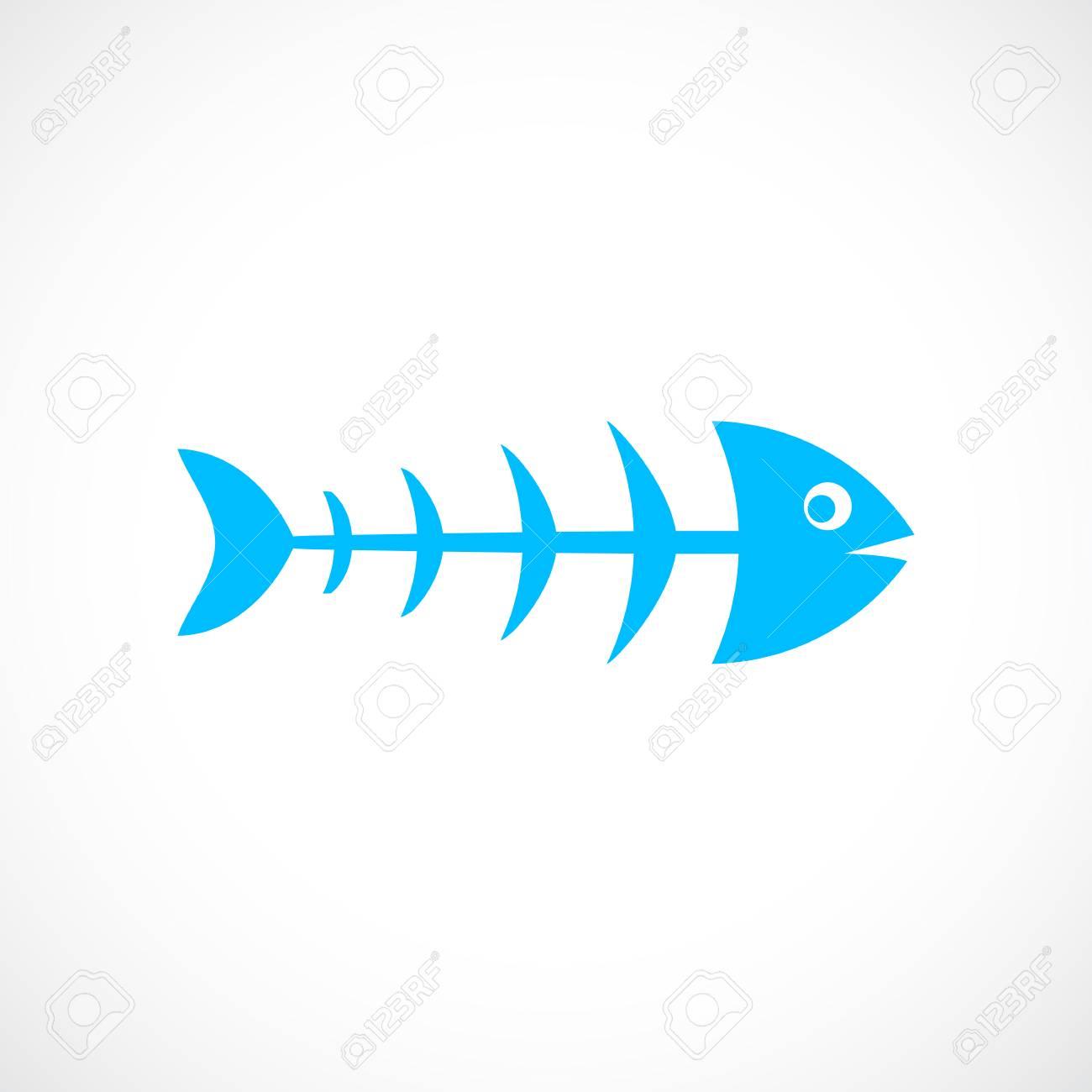 Fish skeleton vector icon - 79096948