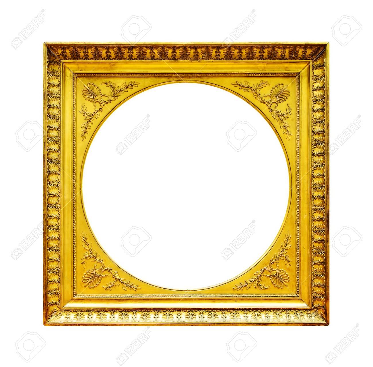Gold Holzrahmen Isoliert Auf Weißem Hintergrund Lizenzfreie Fotos ...